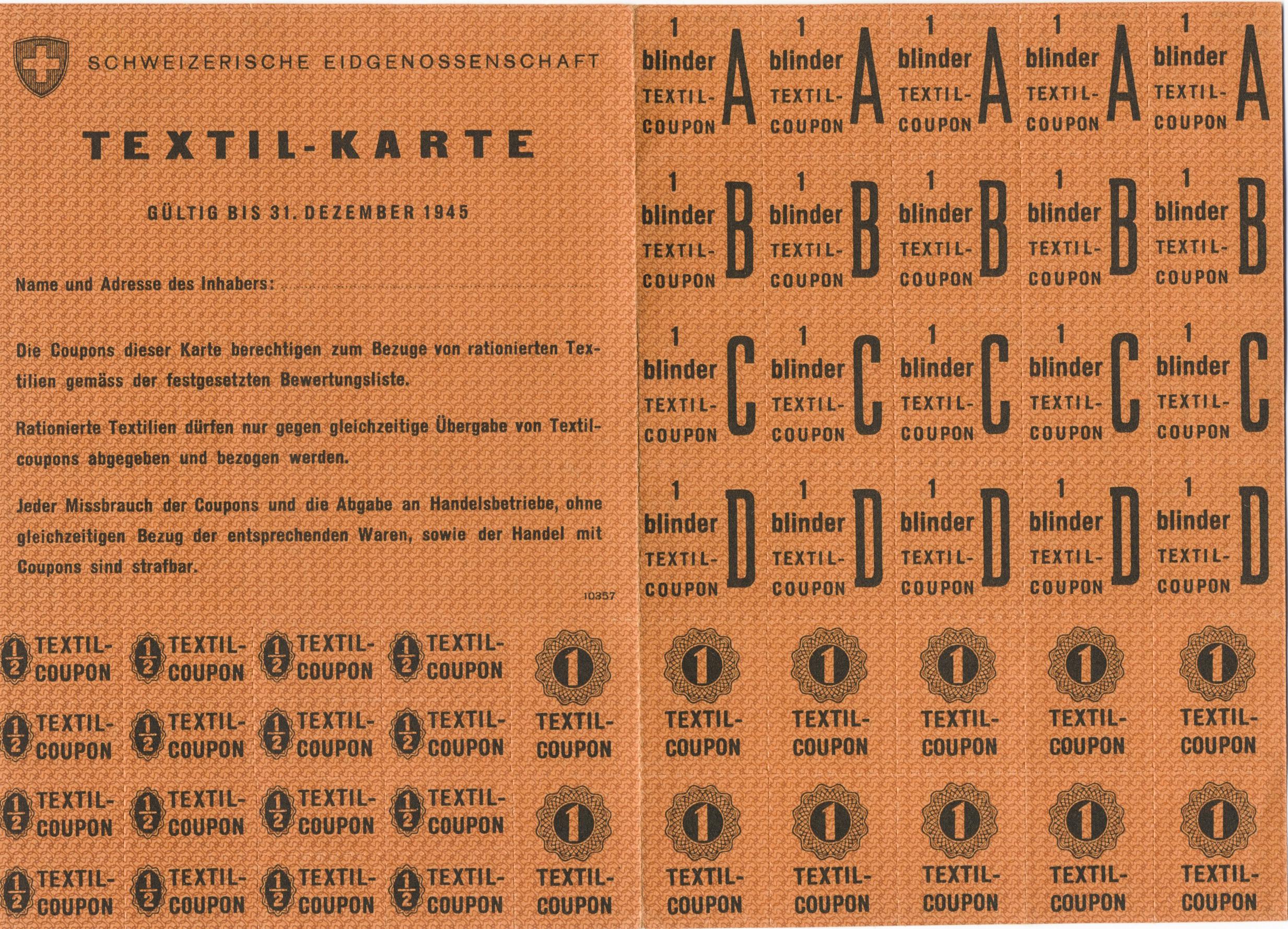 Rationierungsmarken aus dem 2. Weltkrieg